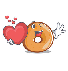 With heart bagels mascot cartoon style vector