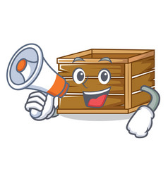 With megaphone crate character cartoon style vector