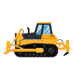 Yellow bulldozer isolated on white background vector