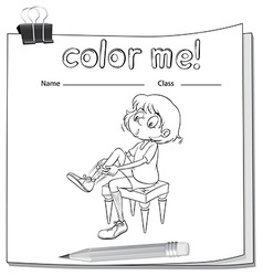 A worksheet showing a girl fixing her shoes vector image vector image