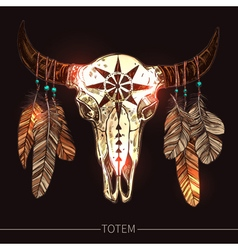 Buffalo Skull With Feathers American Totem vector image vector image
