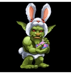 Funny green Troll in Bunny suit with ball vector image