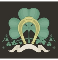 horseshoe and clover vector image vector image
