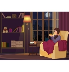 Young woman at home sitting in soft chear relaxing vector image vector image
