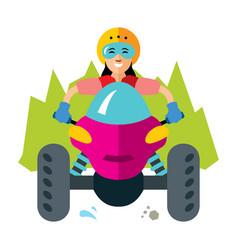 atv girl flat style colorful cartoon vector image vector image