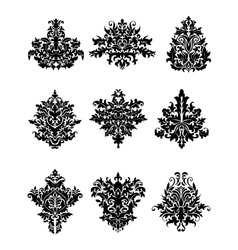 Black flowers in retro damask style vector image vector image