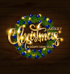 merry christmas alligraphic greeting card vector image vector image