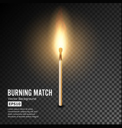 realistic burning match matchstick flame vector image vector image