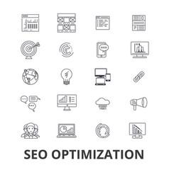 seo optimization marketing social media website vector image