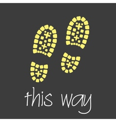 this way with footprint symbols theme simple vector image