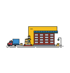 warehouse with roller shutter and worker in hard vector image