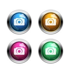 White camera icon buttons vector image vector image
