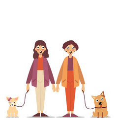 young guy and girl walking with dogs vector image