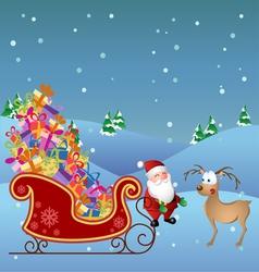Cartoon Santa with deer and sled vector image vector image