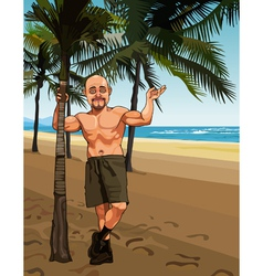 cartoon smiling bald man in shorts on a sandy vector image vector image