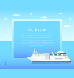 cruise liner poster color vector image vector image
