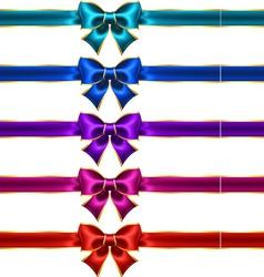 Holiday bows with gold border and ribbons vector image vector image