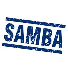square grunge blue samba stamp vector image