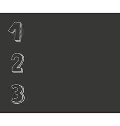1 2 3 numbers on black chalkboard background vector image vector image