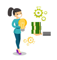 caucasian business woman exchanging idea for money vector image vector image