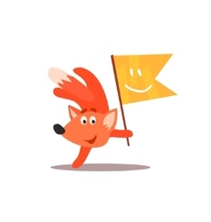 Fox Holding Flag With Smiley Face vector image vector image