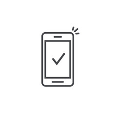 Smartphone and checkmark icon line outline vector