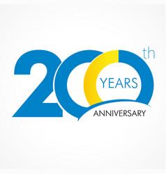 200 years anniversary logo vector image