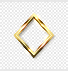 Abstract shiny golden rhombus frame with white vector