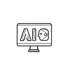 ai letters on computer screen hand drawn outline vector image