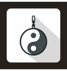 Amulet yin yang icon flat style vector