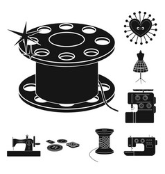Atelier and equipment black icons in set vector
