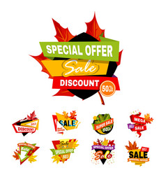 Autumn or fall sale discount banners shop vector