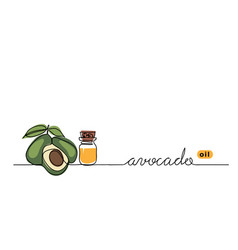 Avocado oil in glass bottle one continuous vector