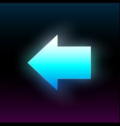 Blue glowing left arrow modern glowing direction vector