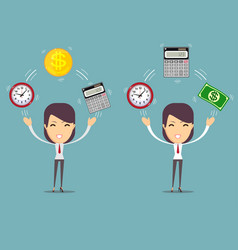 Bookkeeper at worktime is money concept vector