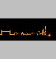 Bordeaux light streak skyline profile vector