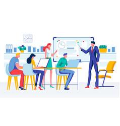 Boss businessman hold meeting analyze diagram vector