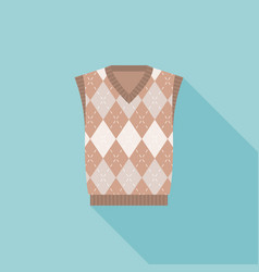 Brown argyle male knitted vest icon vector