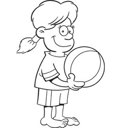 Cartoon girl holding a beach ball vector image