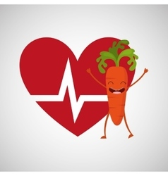 Cartoon heart rate carrot vector
