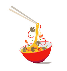Cartoon noodle soup in chinese bowl vector