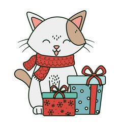 Cat with gift boxes celebration merry christmas vector
