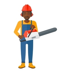 Cheerful lumberjack with chainsaw vector image