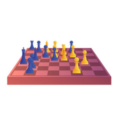 Chessboard with blue and yellow chess figures vector