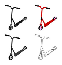 Children red scooter transport for children walks vector