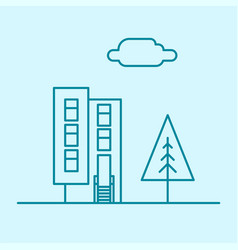 city thin line office building with tree vector image