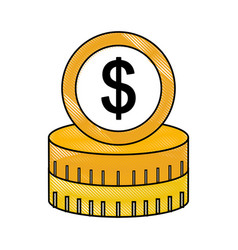 Coins money dollar icon vector