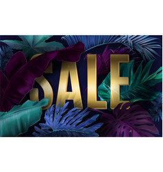 cold sale banner with tropical leaves vector image