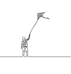 continuous line drawing makar sankranti man vector image