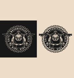 Custom motorcycle round vintage badge vector